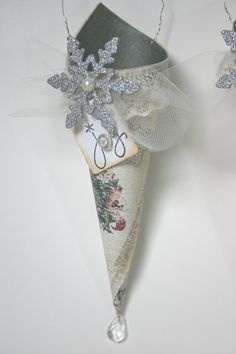 Victorian Tussie Mussie/Cone Ornaments w/ by ReverieCreations, $8.50 Maybe use sheet music?