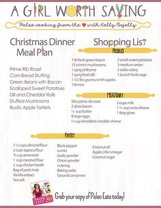 Hit the easy button on Christmas dinner this year! Here is your printable grocery list for an entire meal, paleo style. These healthy and delicious dishes will bring cheer to the entire family. Christmas Dinner Shopping List, Christmas Dinner Menu, Family Christmas, Paleo Meal Plan, Paleo Diet, Paleo Menu, Paleo Running Momma, Sugar Free Bacon, Paleo Thanksgiving
