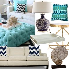For when i have my beach house one day... a girl can dream:-) ivory and turquoise for nautical theme