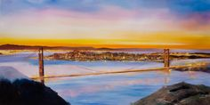 Vibrant abstract painting of San Francisco and the Golden Gate Bridge