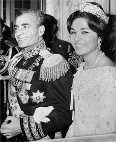 The Shah of Iran ~ Mohammed Reza Pahlavi ~ married Farah Diba in December 1959.  He was 40; she was 21.  To go with her dress, Farah wore the Noor-ol-Ain Tiara containing one of the world's largest pink diamonds.