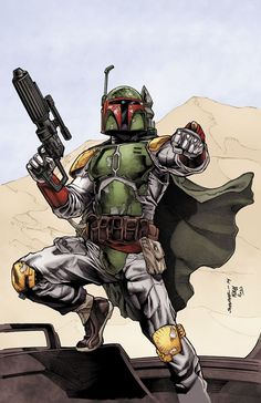 Boba Fett on Tattooine, just before he was knocked into the sarlaac pit.