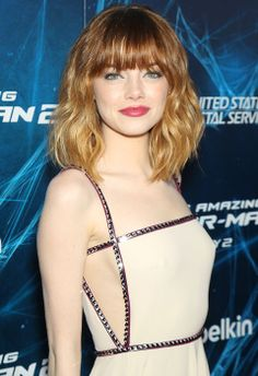 Emma Stone ombre, wavy mid length / shoulder length hair style with full fringe