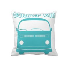 Turquoise Iconic Retro Camper Van RV Pillow