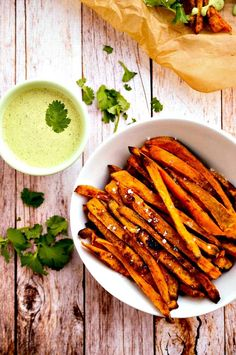 Sweet Potato Fries with Cilantro & Hemp Seed Aioli | |  Highly recommended with Califia Unsweetened Almondmilk.