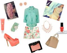 """Coral And Mint Outfit"" by jaylaahunniibunzz on Polyvore"