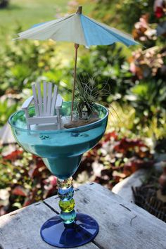 Miniature Beach Vacation With Wine And Beach Umbrella - By Landscapes In…