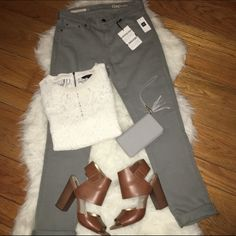 NWT GAP Girlfriend Jeans New with tags. GAP Girlfriend jeans. Size 24R. Color: Soft stone. 98% cotton, 2% spandex. Free gift with every purchase. Offers welcomed. GAP Jeans Boyfriend