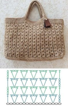 Crochet Tote, Crochet Handbags, Crochet Purses, Cute Crochet, Crochet Crafts, Crochet Projects, Crochet Summer, Crochet Skirts, Crochet Patron