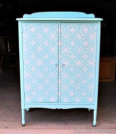 Stenciled Turquoise Wardrobe