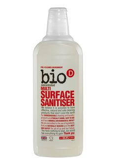 Bio-D Multi -Surface #Sanitiser is a concentrated, easy-to-use, limonene free multi-surface sanitiser for use on all hard surfaces. Vegan Society approved.