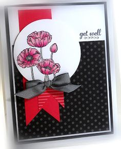 Pleasant Poppies - Stampin' Up! Butterfly Cards, Flower Cards, Penny Black, Red Black, Poppy Cards, Stamping Up Cards, Get Well Cards, Card Sketches, Sympathy Cards