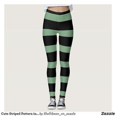 Cute Striped Pattern in Black and Sage Green