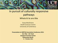 In pursuit of culturally responsive pathways Whaia ki te ara tika Reflective Practice, In Pursuit, Canterbury, Pathways, Conference, Centre, Presentation, Track, October