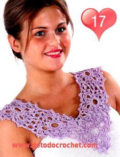 20 patrones gráficos de cuellos para aplicar en vestidos tejidos al crochet