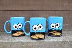 Personalized Googly Eyed Monster Ceramic Cookie and Milk Dunk Mug - Custom Added Name / Message - Made to Order