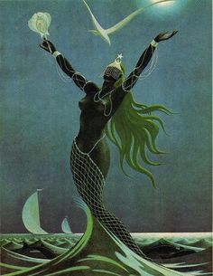 Yemanja is an orisha, of the Yoruba religion and prominent in many Afro-American religions. Black Mermaid, Mermaid Art, Mythical Creatures, Sea Creatures, Orishas Yoruba, African Mythology, African Goddess, Les Religions, Mermaids And Mermen