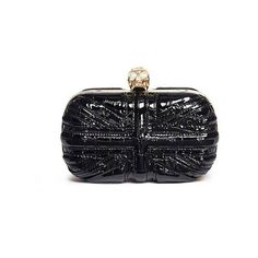 Alexander McQueen Britannia Union Jack skull leather box clutch ($1,795) ❤ liked on Polyvore featuring bags, handbags, clutches, leather patchwork purse, croc handbags, crocodile handbags, box clutch and leather handbags