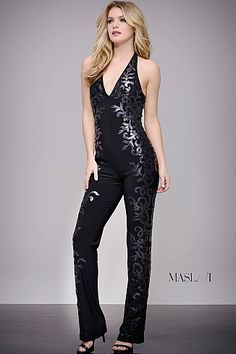 Black Fitted V Neck on Trend Jumpsuit by Jovani M605