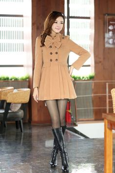 Fashion Turtleneck Long Sleeve double breasted Light tan Wool Coat