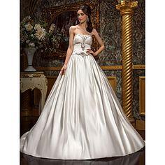 A-line Princess Strapless Chapel Train Satin Wedding Dress (605516) – USD $ 249.99