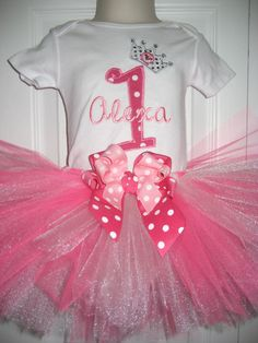 Boutique Birthday Tutu set by PolkaDotCloset on Etsy, $34.00