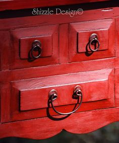 Red Buffet hand painted and waxed in Annie Sloan's Emperor's Silk Chalk Paint.  $275