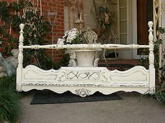 Shabby Chic Queen Bed | White Shabby Headboard Chic Queen Full Beds Shabby - kids canopy beds