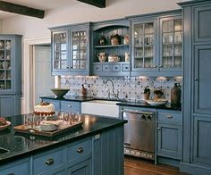 Image result for blue and grey painted kitchen cupboards with timber benchtop images