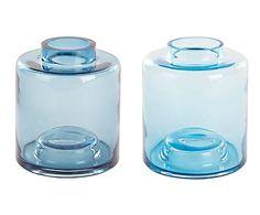 Set de 2 jarrones de vidrio, azul - Ø15,5 cm