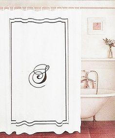 Monogram Shower Curtain Black Letter S Monogrammed White Fabric Black Border