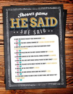 He said she said baby shower game Baby is brewing by LyonsPrints