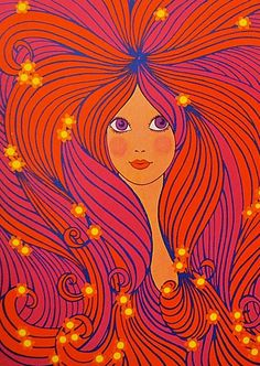 ☯☮ॐ American Hippie Bohemian Psychedelic Art ~ 1960s groovy redhead!