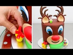 Reindeer Cake with Chocolate Buttecream Frosting by Cakes StepbyStep Christmas Deserts, Christmas Treats, Christmas Baking, Christmas Cookies, Holiday Cakes, Holiday Fun, Cake Cookies, Cupcake Cakes, Reindeer Cakes