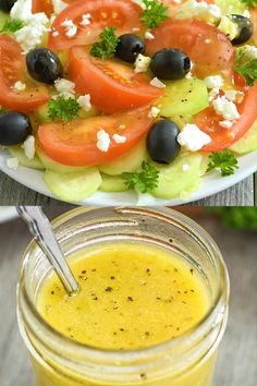 This Apple Cider Vinegar Salad Dressing is my favorite homemade salad dressing, and it's very easy t Vinegar Salad Dressing, Salad Dressing Recipes, Salad Recipes, Keto Recipes, Cooking Recipes, Healthy Recipes, Salad Vinegar, Salad Dressing Homemade, Healthy Salad Dressings