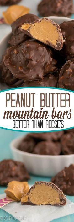 Butter Mountain Bars - an easy candy that's filled with chocolate and tons of peanut butter! These are better than Reese's!Peanut Butter Mountain Bars - an easy candy that's filled with chocolate and tons of peanut butter! These are better than Reese's! Candy Recipes, Sweet Recipes, Baking Recipes, Cookie Recipes, Dessert Recipes, Fudge Recipes, Vegaterian Recipes, Dinner Recipes, Peanut Recipes