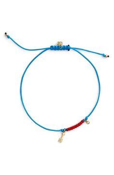 Women's SHY by Sydney Evan Diamond & Charm Friendship Bracelet - Gold/ Aqua Gemstone Jewelry, Beaded Jewelry, Beaded Necklace, Beaded Bracelets, Bracelet Knots, Bracelet Making, Jewelry Making, Cute Bracelets, Handmade Bracelets