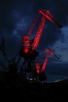 #Lightingdesign project for #Cranes in #Pula Croatia. After almost 15 years, #DeanSkira 's idea got realized thanks to the sponsors and organizers. The Cranes project was inaugurated as part of #Visualia #LightingGiants festival.