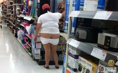 I can't believe someone thinks this is acceptable yep walmart again. maybe she can find some pants that fit here.