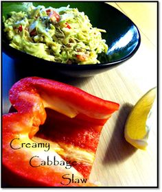 Yummy Creamy Cabbage Slaw! Raw and Vegan. :P