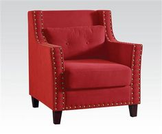 Cibil Red Linen Accent Chair