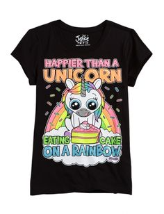 Happier Than A Unicorn Eating Cake On A Rainbow Shirt From Justice!!!