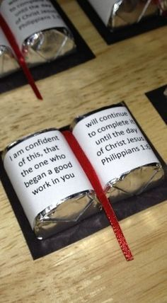 Candy Bible Scriptures - great idea; use KJV instead and most definitely ignore the Catholic reference here (false doctrine)