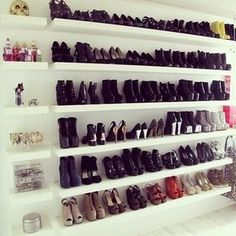 Add rows of shoes on floating shelves.