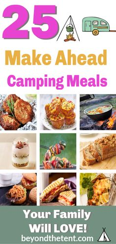 Check out BEYOND THE TENT'S 25 Make Ahead Camping Meals for breakfast, lunch, snacks, dinner and desserts that will keep your family fed on your next camping trip. meals lunch 25 Make Ahead Camping Meals to Feed a Whole Family Camping Food Make Ahead, Camping Lunches, Camping Menu, Make Ahead Meals, Tent Camping, Camping Hacks, Camping Ideas, Camp Meals, Camping Foods