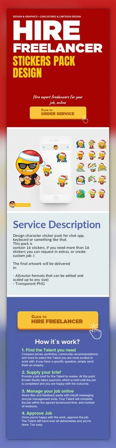 Stickers Pack Design Design & Graphics, Caricatures & Cartoon Design   Design character sticker pack for chat app, keyboard or something like that.   This pack is contain 16 stickers, if you need more than 16 stickers you can request in extras, or create custom job :)    The final artwork will be delivered in:    - AI(vector formats that can be edited and scaled up to any size)  - Transparent PNG ...