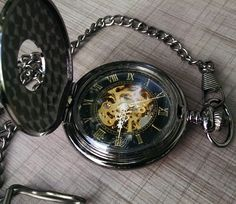 Gunmetal Black Mechanical Pocket watch exposed gear awesomness Free US Shipping