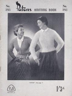 Vintage 1940s  Paton's Knitting Pattern No 393 by jennylouvintage