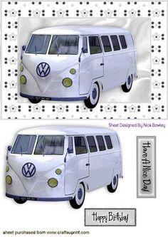 WHITE VOLKSWAGEN VW IN SILVER FLORAL FRAME on Craftsuprint - Add To Basket!