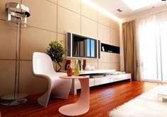 Living room, Splendid Living Room Interior Featuring TV With Marble Tile Wall Laminated Floor White Cabinet Modern Chair Small Table Soft Carpet Curtain Window Lamp: Living Room Interior with Cool Modern Wall TV